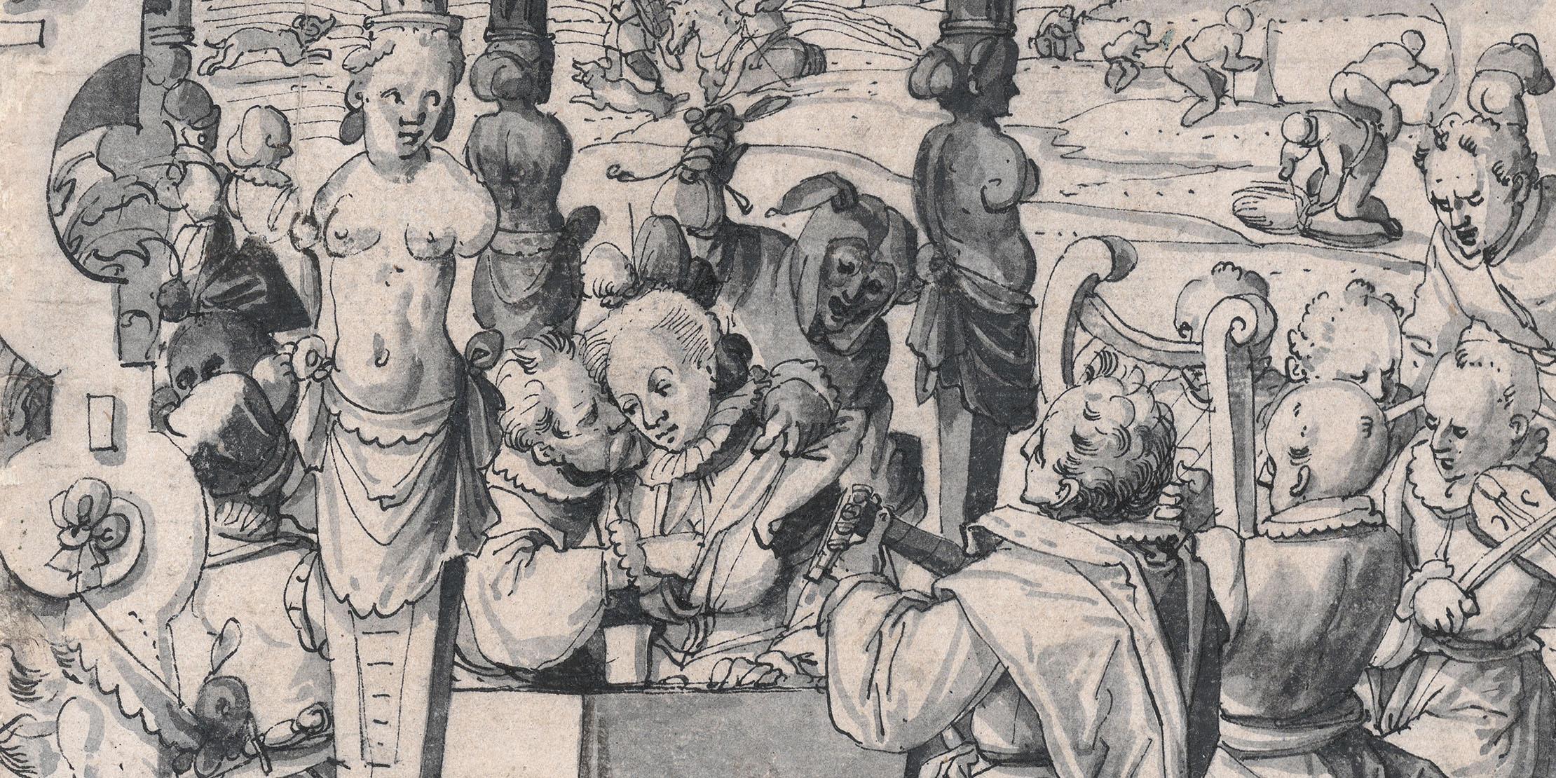 Viele der Scheibenrisse erzählen ganze Geschichten, wie das Bild «Der verlorene Sohn verprasst sein Erbe» des Zürcher Künstlers Christoph Murer, datiert 1589 (Ausschnitt).