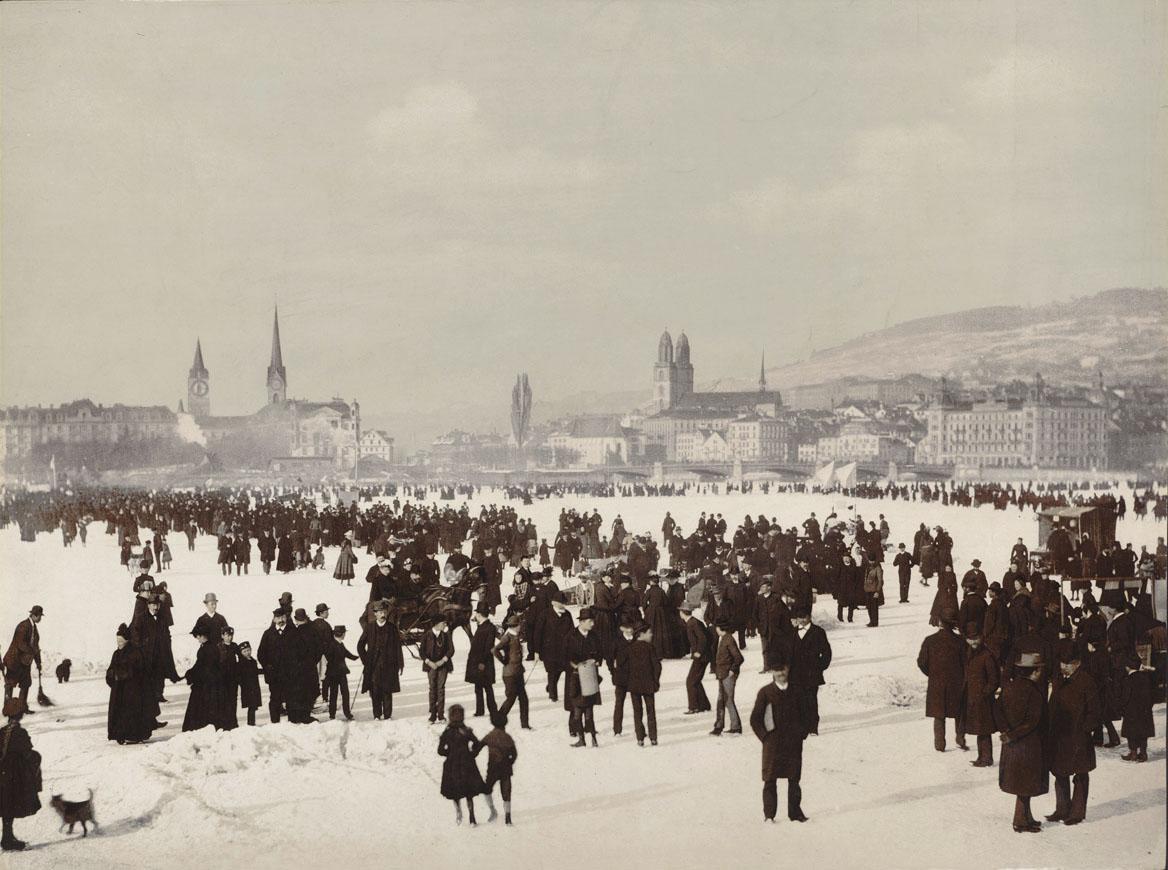 Photochrom der 23. Zürcher Seegfrörni von 1891.