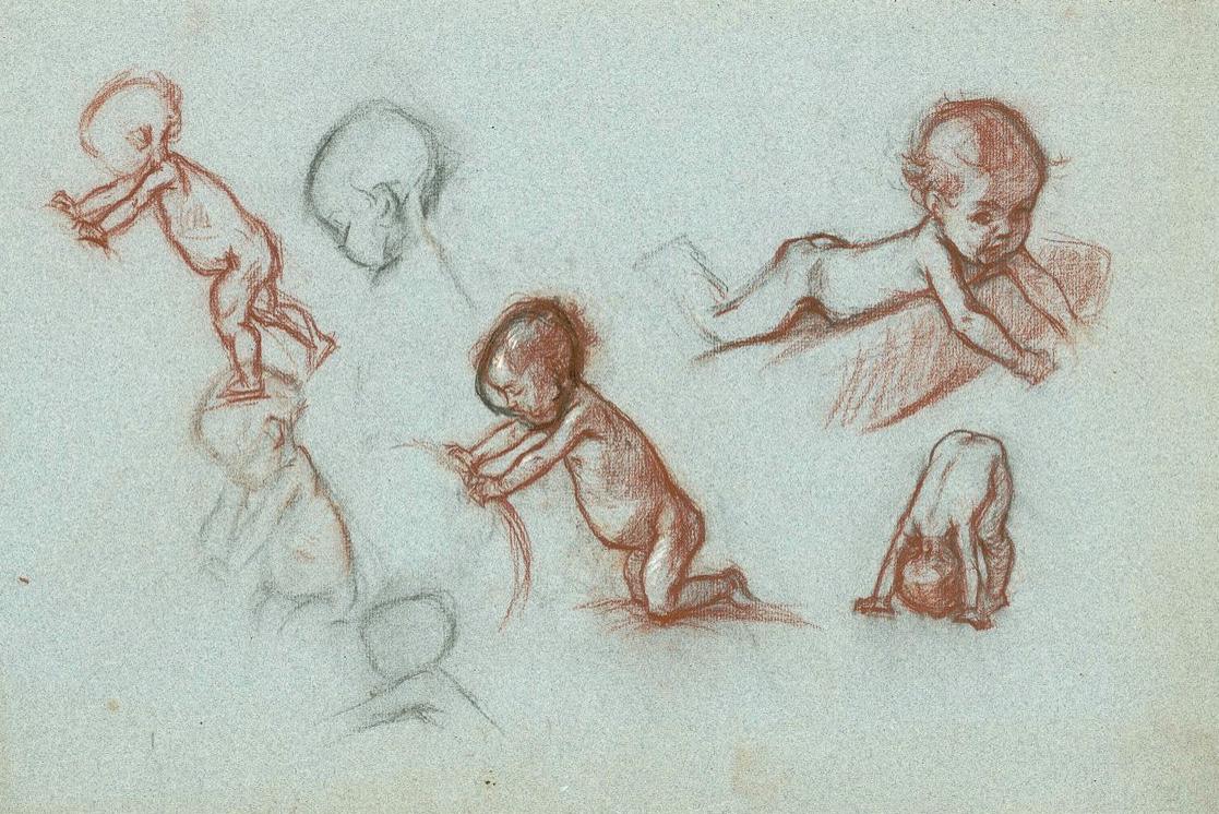 Abb. 3: Margarete Goetz, Studien von Kleinkindern, um 1900, Goe 497