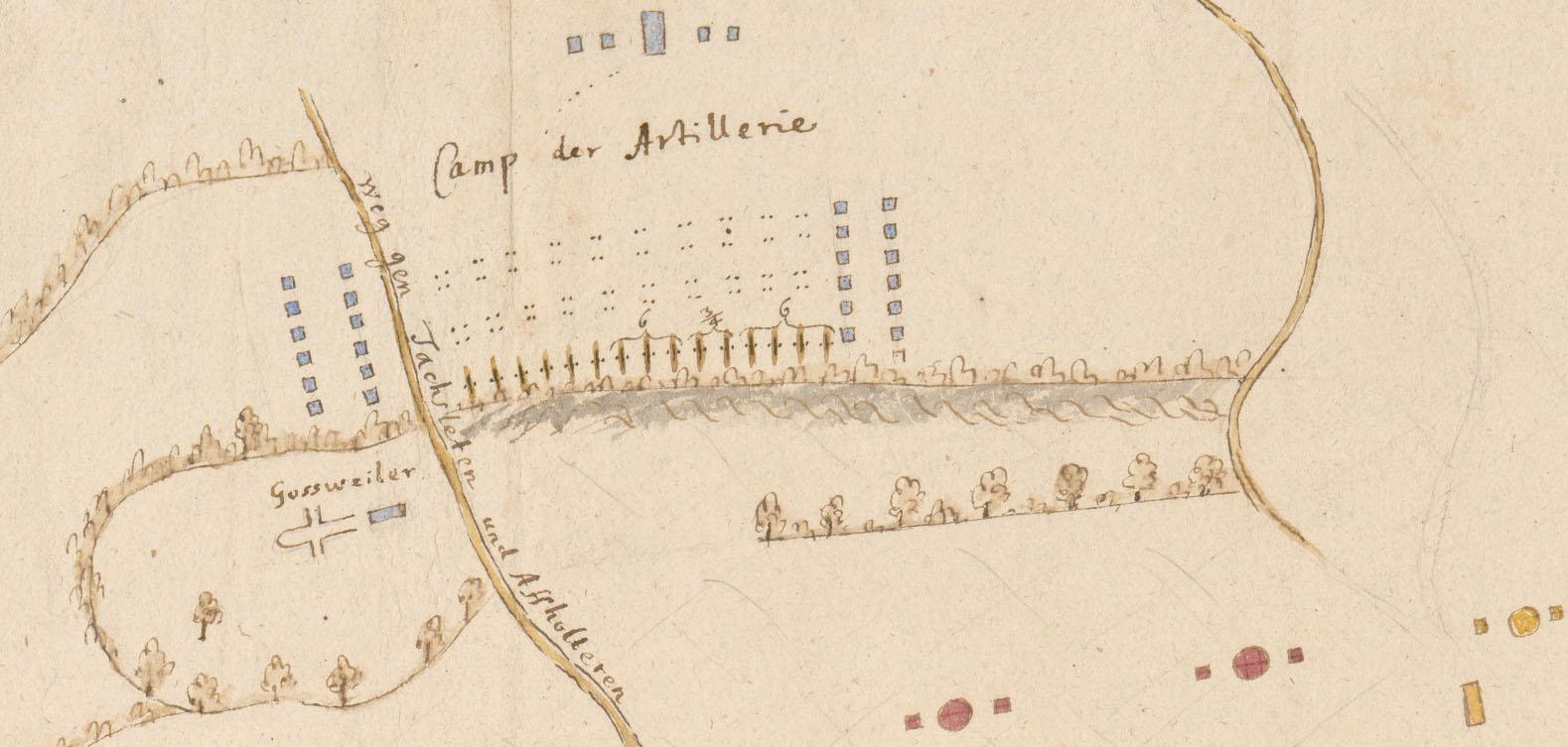 Zürcher Lager bei Mettmenstetten (Ausschnitt «Camp der Artillerie»): Johann Jakob Scheuchzer, handschriftlicher Situationsplan 1712. Abteilung Karten und Panoramen, Signatur: MK 2179.