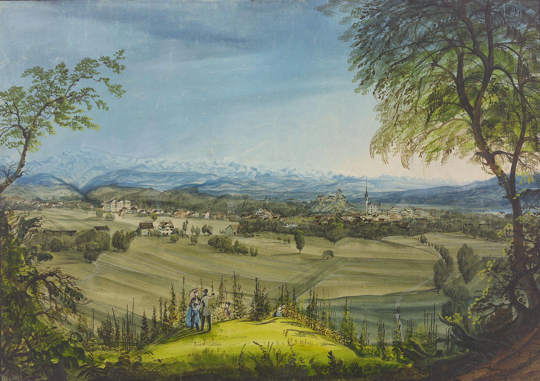Jakob Eggli, Uster von Hasenbühl aus, zwischen 1847 und 1856, Gouache