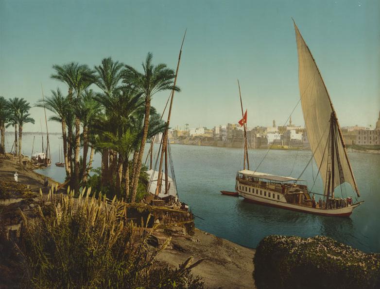 Le Caire. Au Bord du Nil près Boulac, Dahabieh faisant voile