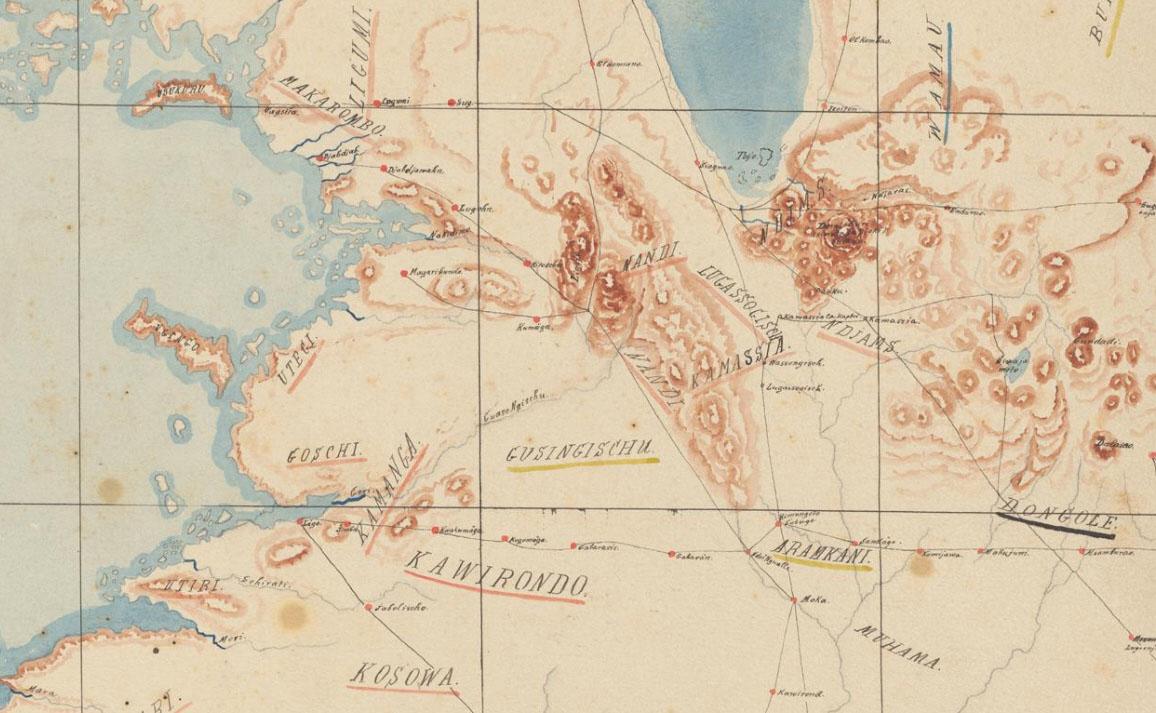 Alfred Kaiser: Ethnien im Gebiet zwischen Victoriasee und Indischem Ozean, Manuskriptkarte um 1890. Abteilung Karten und Panoramen, Signatur MK 2229.