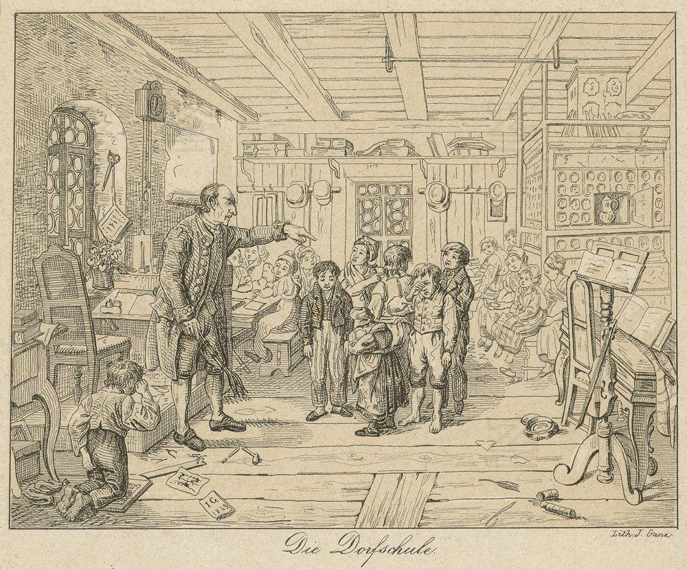 Johannes Ganz: Die Dorfschule, Zürich (?), Radierung um 1850