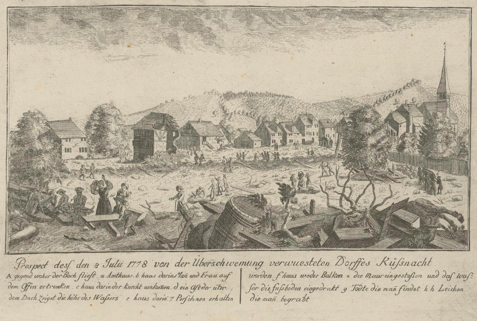 Johannes Hegi: Überschwemmung von Küssnacht am 8. Juli 1778. Radierung