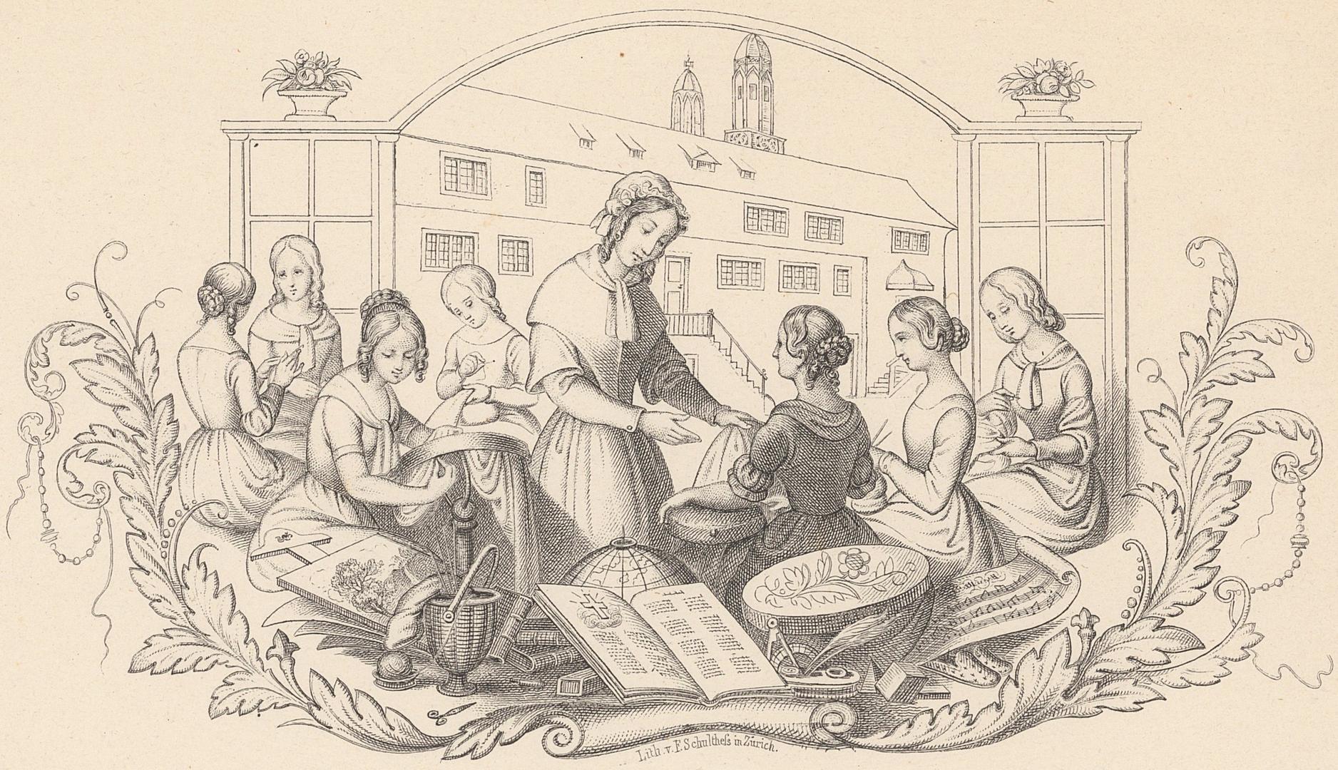 Anonym: Zürcher Töchterschule, Lithografie, circa 1853 (Ausschnitt)