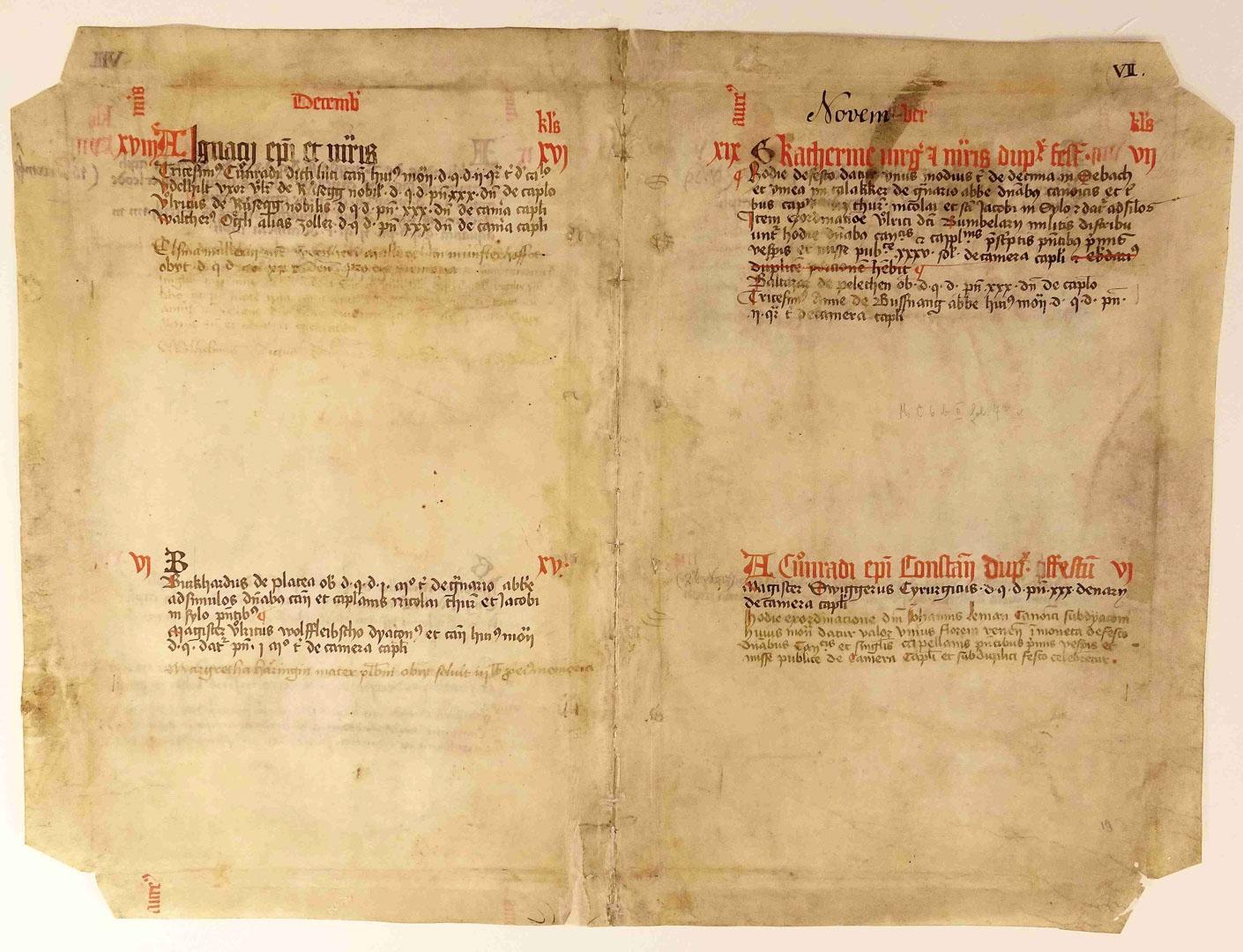 Um die Handschrift als Einband zu verwenden, schnitt man alle 4 Ecken an den Einschlägen ab.