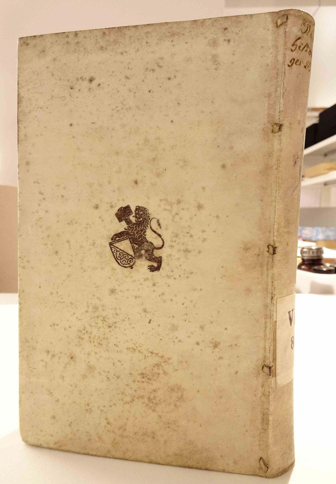 Ein Pergamentband mit fünf durchgezogenen Pergamentriemchen am Gelenk zwischen Buchrücken und Buchdeckel.