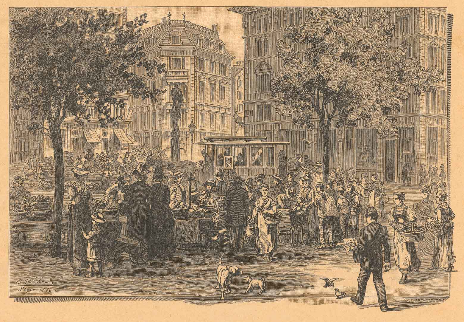 Die Zürcher Bahnhofstrasse mit dem Freitagsmarkt. Ein Bild von Johannes Weber (1846–1912), abgedruckt in den «Europäischen Wanderbildern»