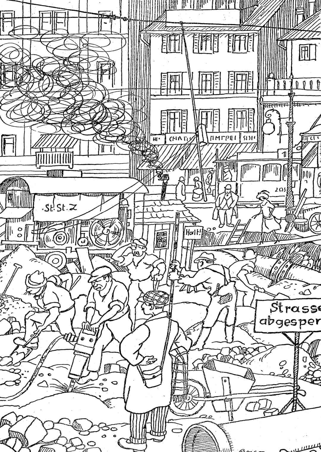 «Den Fremden wird Gelegenheit geboten, ‹Das Innere› der Stadt zu sehen». Ein Bild aus dem Reiseführer «Das moderne Zürich» (Bildrechte: Nachlass Boscovits)