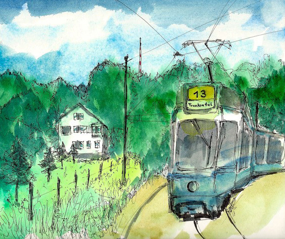 Die Linie 13. Ein Bild aus dem gleichnamigen Skizzenbuch von Gerd Folkers