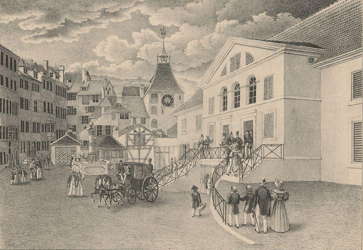 Zürichs erstes ständiges Theater, eröffnet im Jahr 1834.