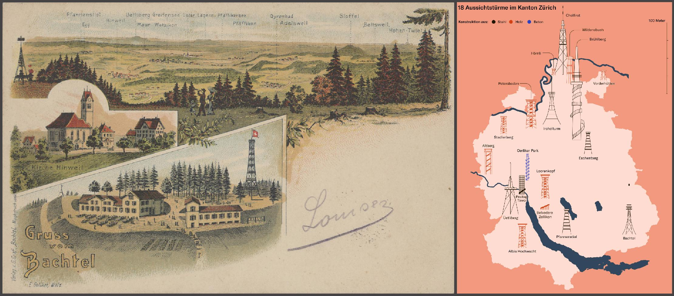 Left: Greetings from the Bachtel. Picture postcard, around 1902. G. Graf publishers. Department of Prints and Drawings and Photo Archive, call number: Ansichtskarten, ZH, Bachtel, 1 - Right: infographic by Joana Kelén from: Zürich – das Land der Aussichtstürme, NZZ, 20.10.2017