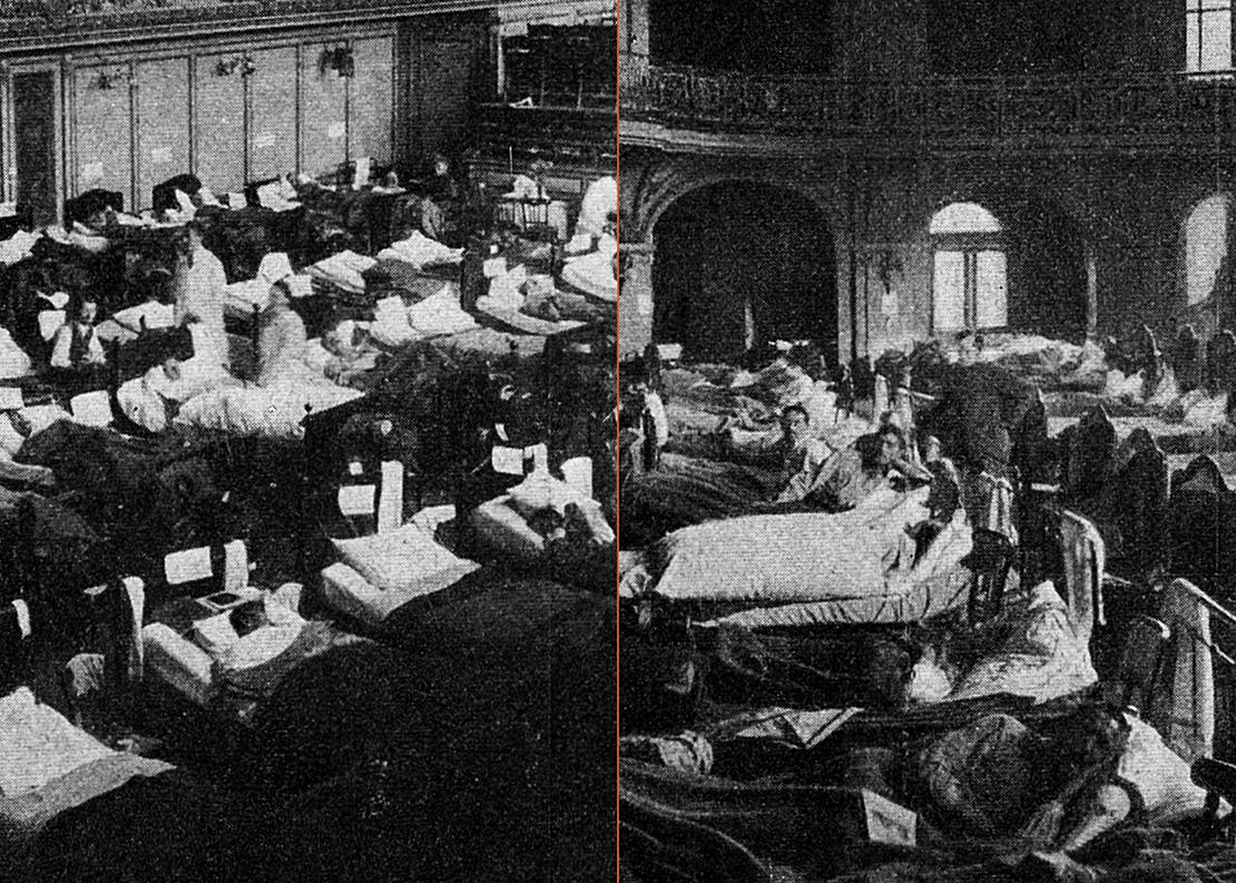 Zwei Bilder, Blick in zwei Räume mit grippekranken Soldaten in der in ein Spital umfunktionierten Tonhalle.