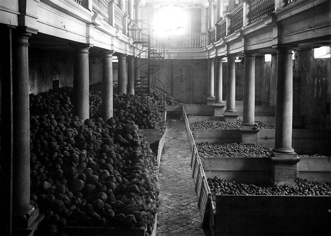 Lagerraum 2, mit Obst gefüllter Raum in der Wasserkirche Zürich.
