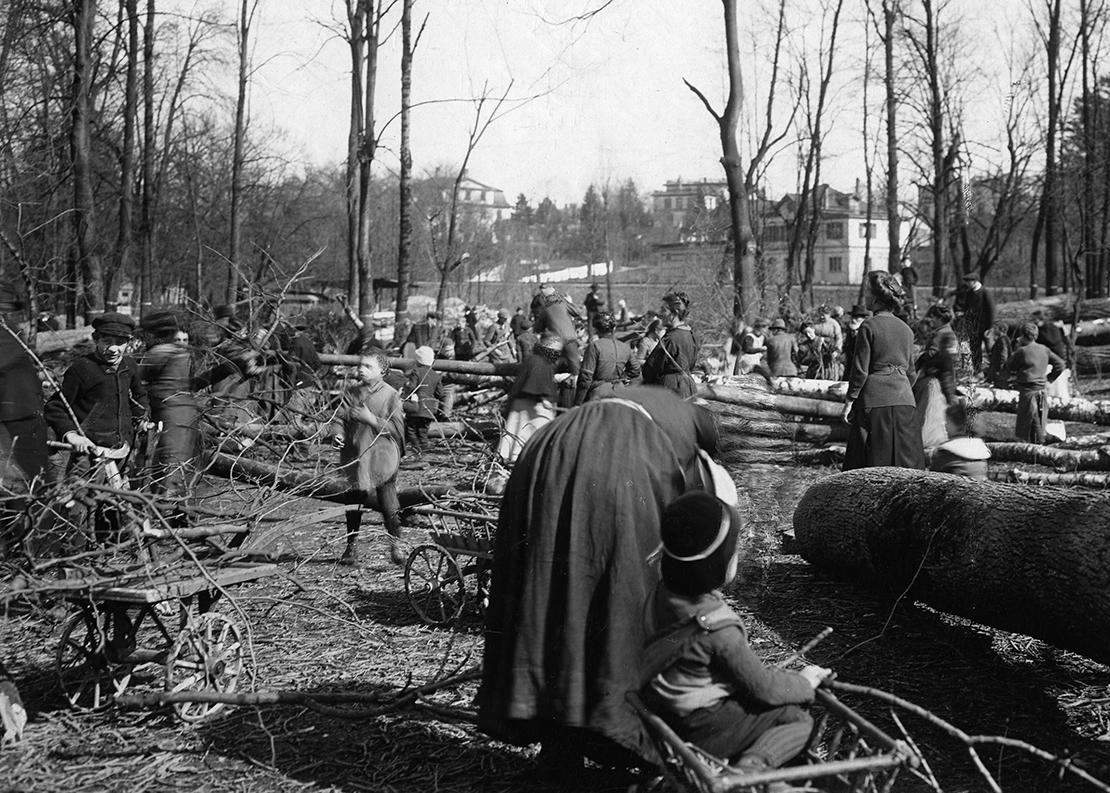 Frauen und Kinder sammeln Brennholz im Stadtpark Sihlhölzli