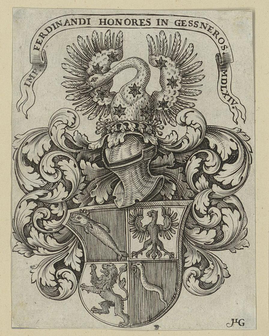 Exlibris mit Vollwappen der Familie Gessner von 1564. Signatur: Gessner, Konrad (a) I, 17
