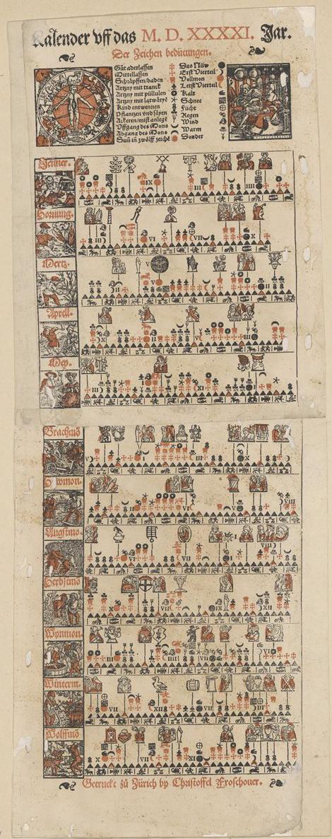 Bauernkalender von Christoph Froschauser aus dem Jahr 1541. Signatur: Kalender Schweiz 1541 II,1