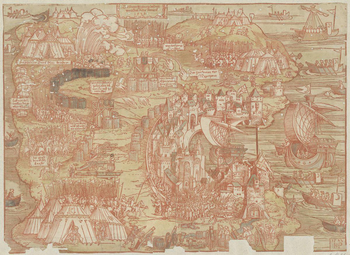 Sebald Beham, Belagerung von Rhodos durch die türkischen Osmanen von 1522. Signatur: EDR I 1522 Beham Pp