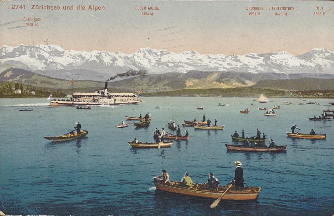 Postkarte mit Zürichsee und den Alpen um 1917. Signatur: Ansichtskarten, ZH, Zürichsee, 3