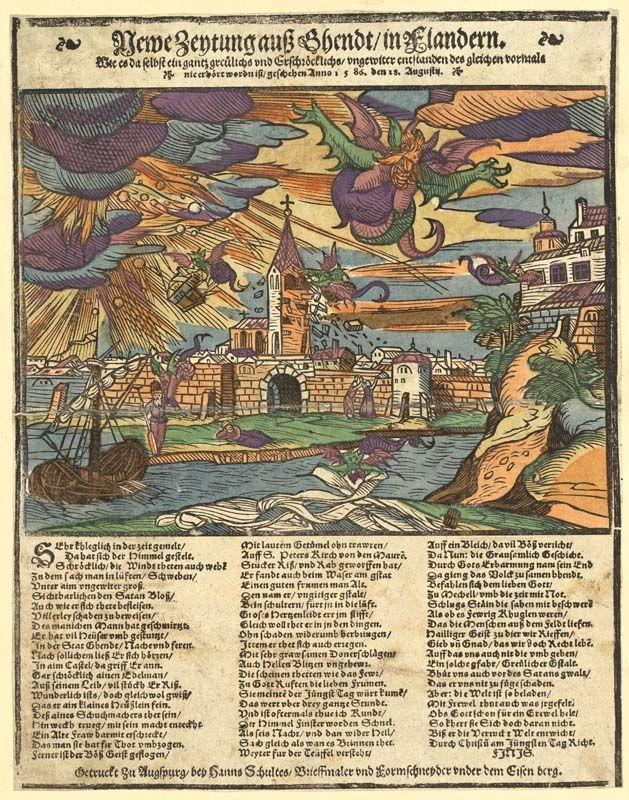 Unwetterkatastrophe über Gent und Mecheln am 15. August 1586, kolorierter Holzschnitt aus der Sammlung von Johann Jakob Wick, Chorherr am Zürcher Grossmünster. Signatur: PAS II 24/7