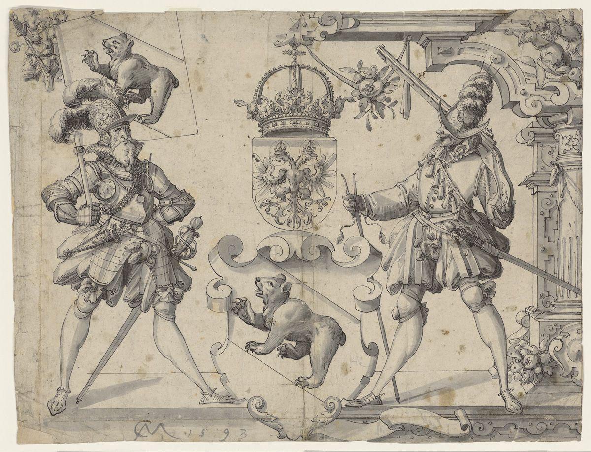 Christoph Murer, Entwurf zu einer Standessscheibe von 1593. Signatur: Scheibenrisse A II 14