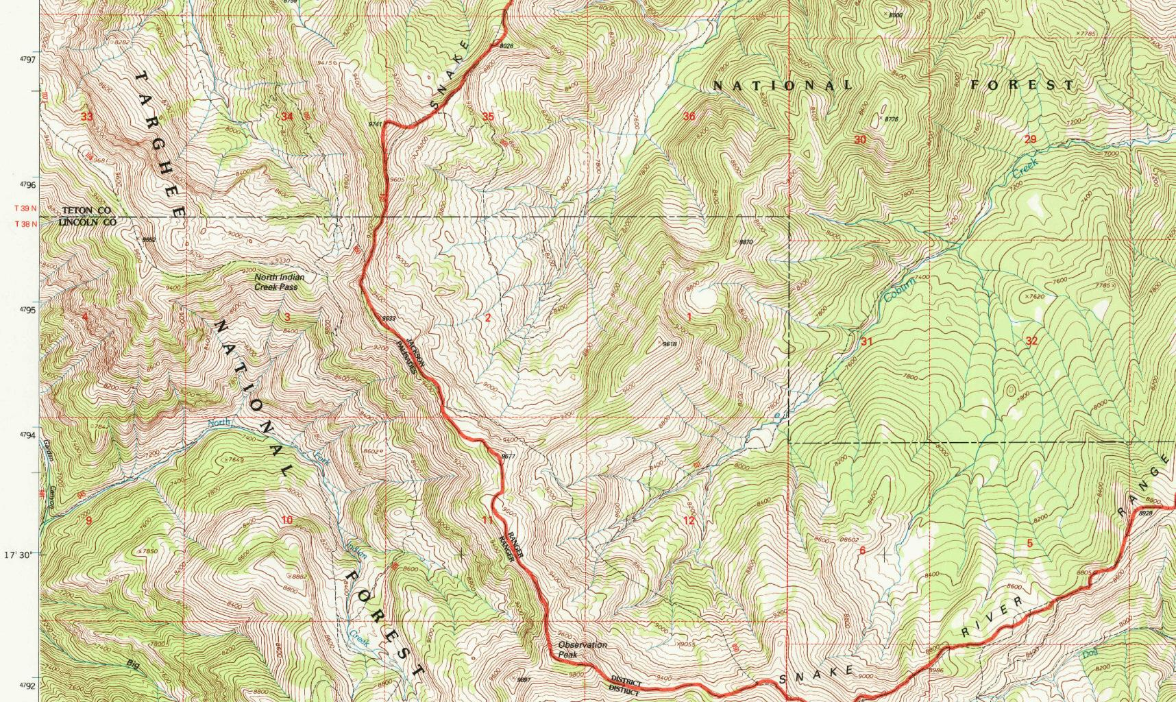 Grand Teton National Park (WY), Observation Peak sheet in the USA 1:24,000 map series, Reston 1996