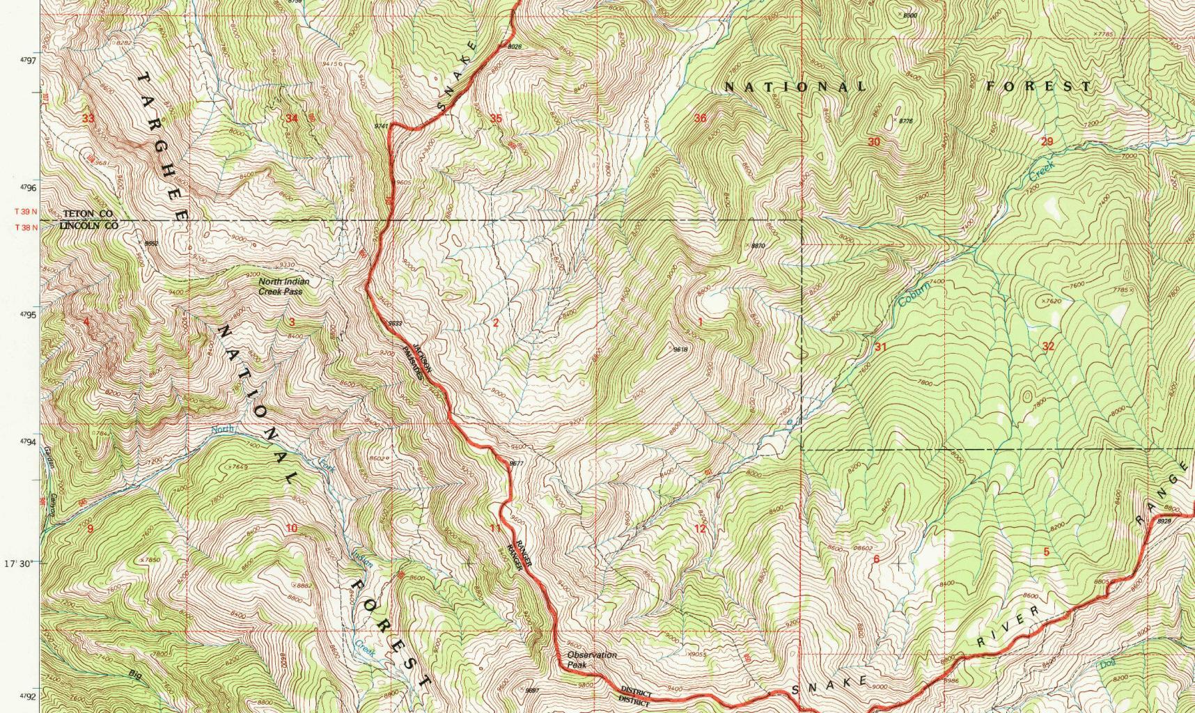 Grand Teton National Park (WY), Blatt Observation Peak im Kartenwerk USA 1:24'000, Reston 1996