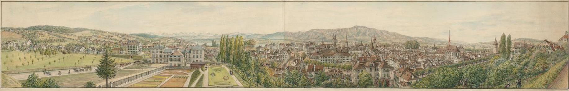 Manuskriptpanorama der Stadt Zürich, von der Schönberggasse aufgenommen, ca. 1844