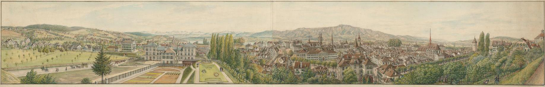 Manuscript panorama of the city of Zurich viewed from Schönberggasse, c. 1844