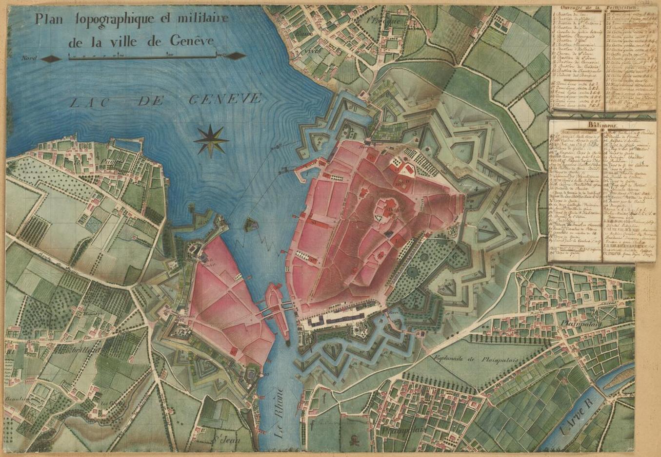 Manuskriptplan von Genf um 1790