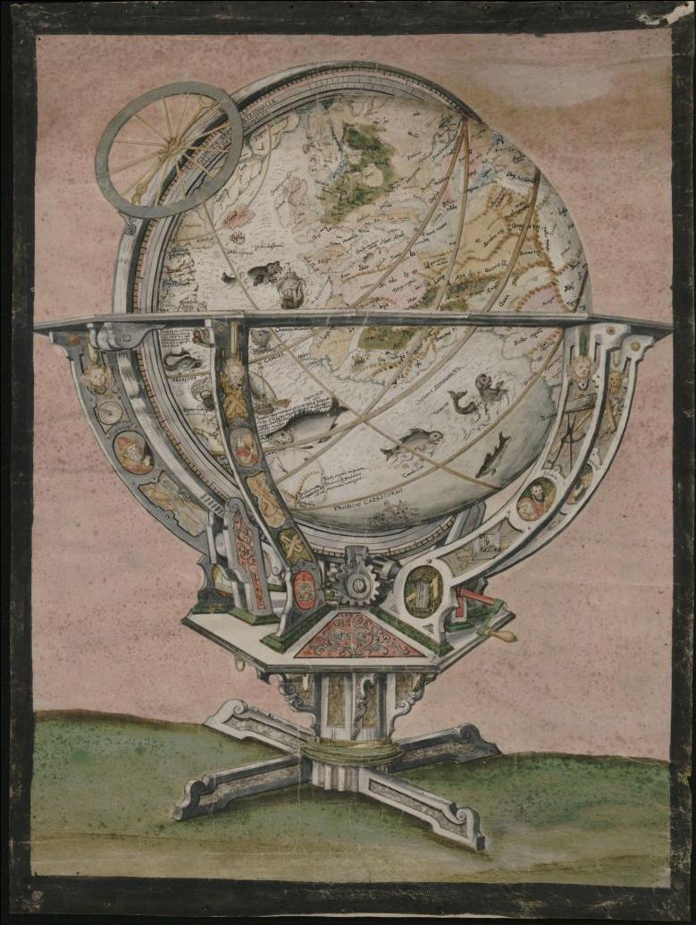 Abbildung des St. Galler Globus auf Pergament, 1592/1595