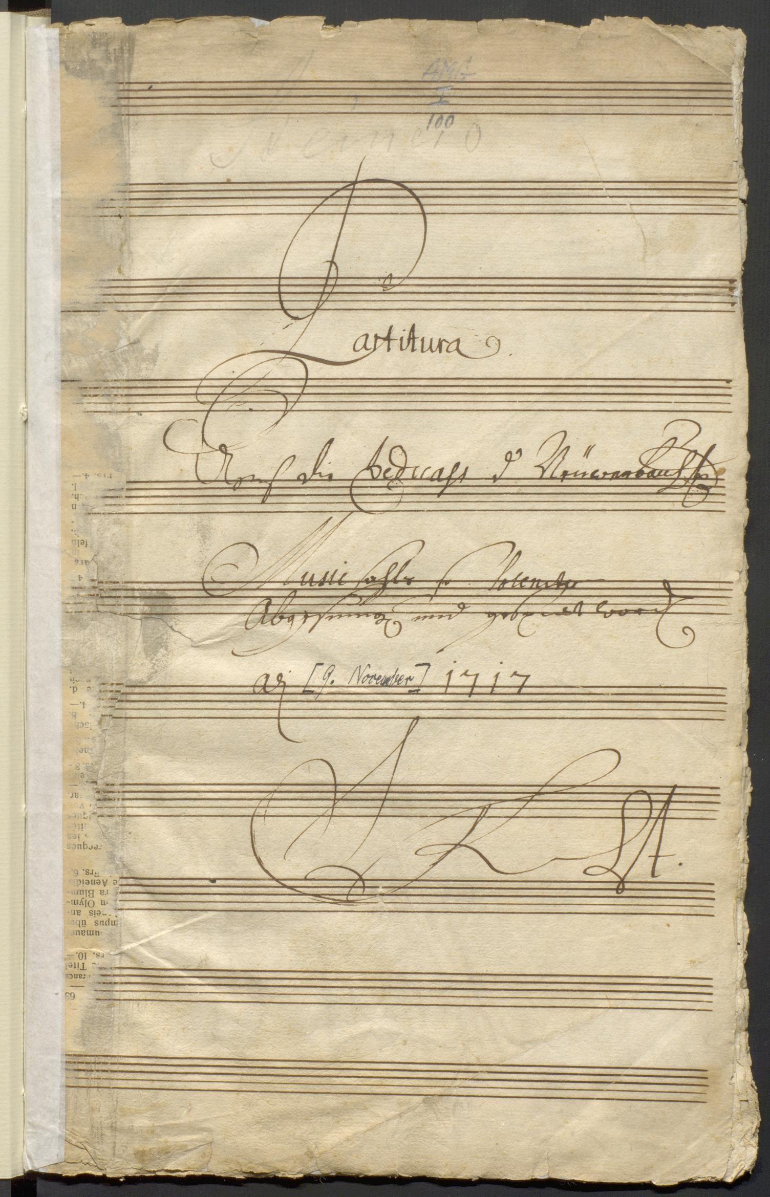 Autographe Partitur der Komposition von Johann Ludwig Steiner für die Einweihung des neuen Konzertsaals von Zürich am 9. November 1717.