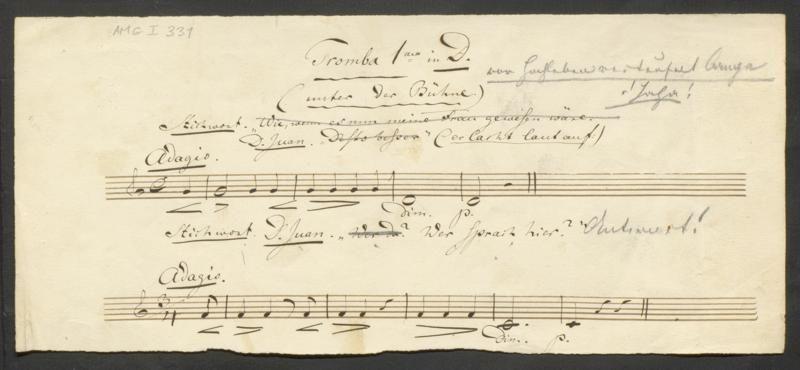 Autographe Notizen von Richard Wagner zur Aufführung von Mozarts Don Giovanni im Aktientheater Zürich am 8. November 1850 unter seiner Leitung.