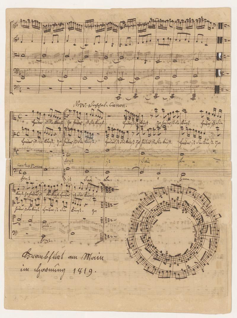 Autographes Albumblatt von Xaver Schnyder von Wartensee für Louis Spohr zur freundlichen Erinnerung. Frankfurt 1819.