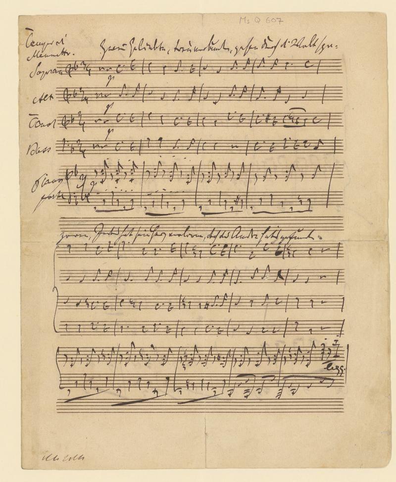 Autograph der Hochzeitskantate von Gottfried Keller und Johannes Brahms. Juli 74 am Zürcher See.