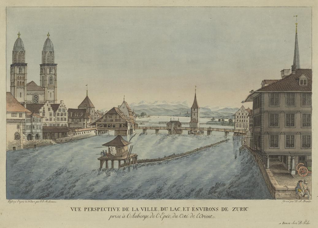 Johann Jakob Aschmann, Blick auf Zürich mit Limmat und Grossmünster, kolorierte Umrissradierung um 1784. Signatur: Zürich II G 212 Pp A2