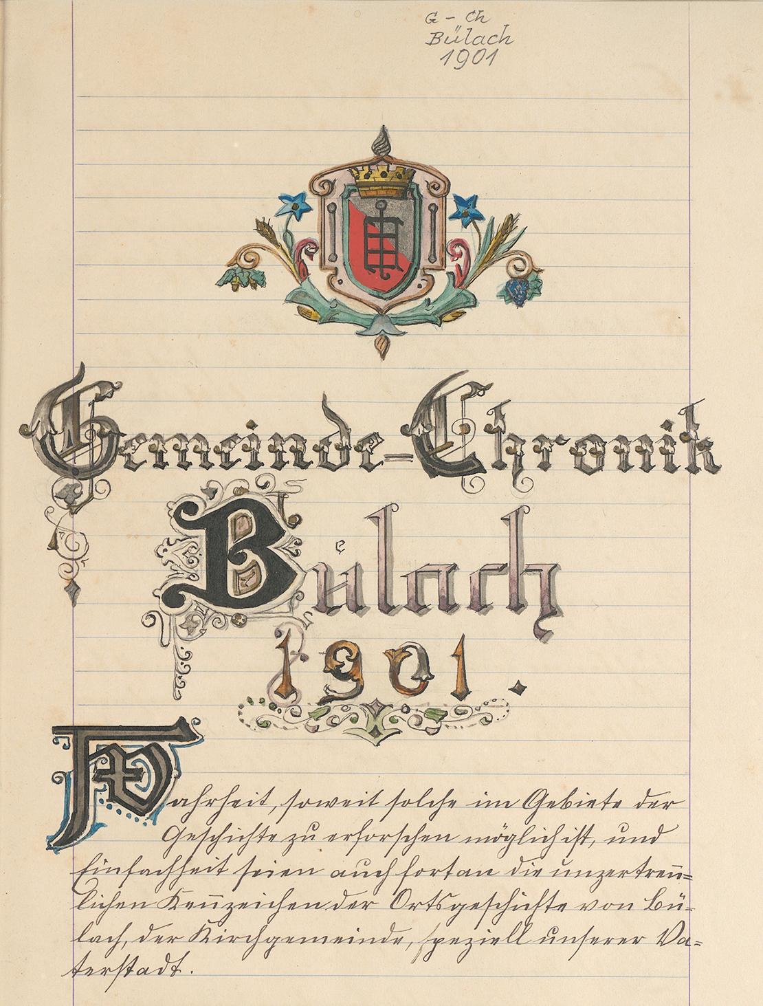 Titelblatt der Gemeindechronik Bülach für das Jahr 1901 mit altem (bis 1931) Gemeindewappen: Schräggeteilt von Silber und Rot mit silbernem Laurentiusrost